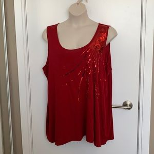 PENNINGTONS   5X   Red Sequinned Relaxed Fit Tank